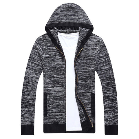 Mens Zip Up Knitting Hooded Cardigans Solid Color Regular Fit Casual Sweaters