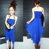 Fashion New Style Women's Off-shoulder Strapless Temperament Irregular Skirt Chiffon Long Maxi Dress