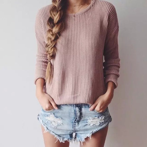 Women Loose Round Neck Solid Color Knit Sweater
