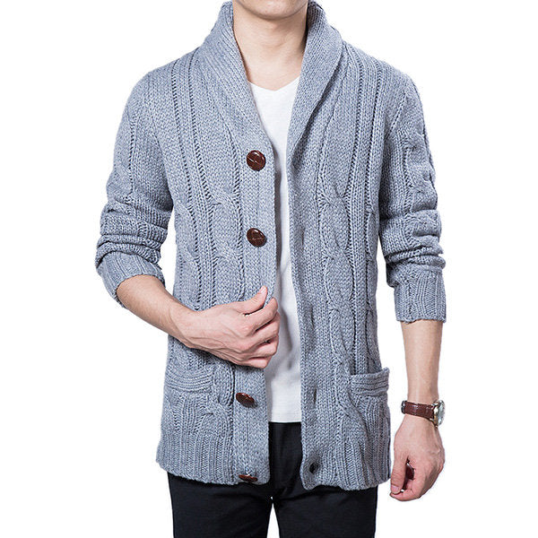 Mens Winter Warm Thick Sweater Coat Single Breasted Knitted Casual Cardigans