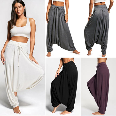 Casual Drawstring Drop Bottom Harem Pants