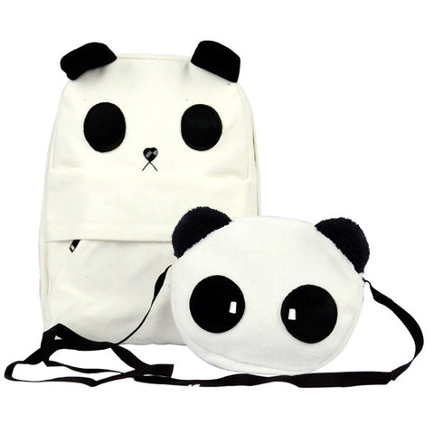 New Fashion Women's Lovely White Panda Canvas Backpack With A Small Panda Shoulder Bag