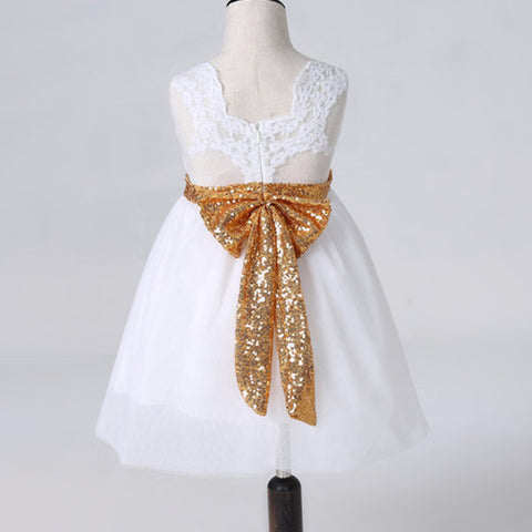 Cute Lace Big Bow Baby Girl Sleeveless Ball Gown Princess Dresses