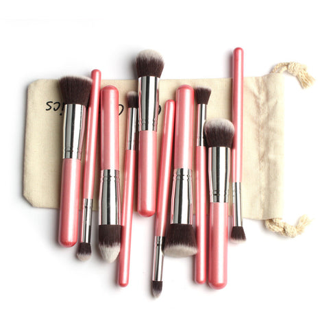10Pcs Professional Makeup Brush Set Eyeshadow Blush Soft Synthetic Hair Cosmetic Tools Kit