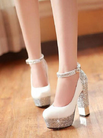 New White Round Toe Chunky Sequin Buckle Fashion High-Heeled Shoes