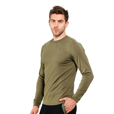 Mens Brief Style Solid Color Round Neck Long Sleeve Casual Cotton T-shirt
