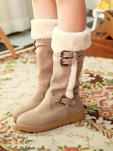 Beige Round Toe Flat Rivet Buckle Fashion Mid-Calf Boots