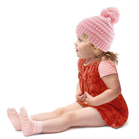 Children Kids Winter Soft Knitted Bonnet Hat CC Letter Warm Stripes Beanies Hat For Boys Girls