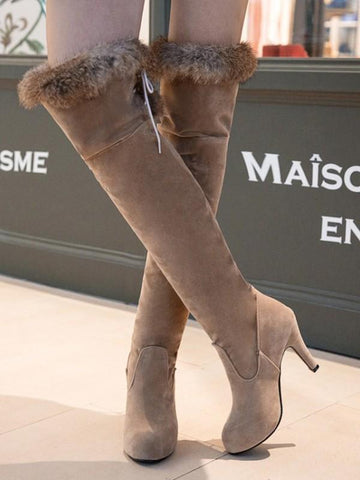 Apricot Round Toe Stiletto Faux Fur Patchwork Fashion Over-The-Knee Boots