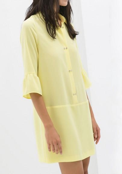 New Women Light Yellow Plain Buttons Turndown Collar Polyester Dress