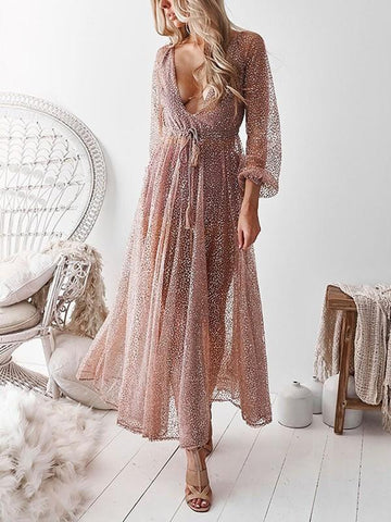 Apricot Patchwork Sequin Grenadine Sashes Backless V-neck Fashion Maxi Dress