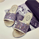 Beaded Shiny Casual Summer Peep Toe Flat Slippers