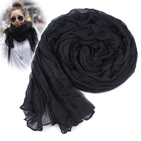 New Fashion Women's Long Crinkle Scarf Wraps Soft Shawl Stole Pure Color