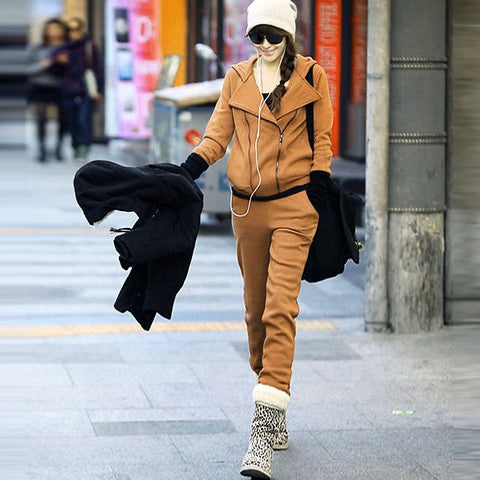 New Fashion Women's Korean Fashion 1 Set Women's Thick Long Sleeve Sweats Hoodie Coat +Pants