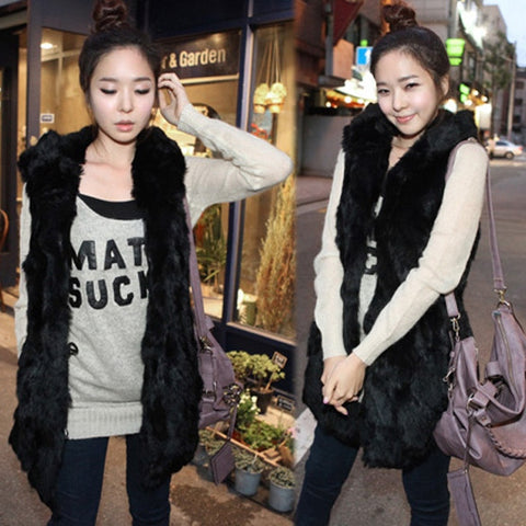 New Fashion Korean Style Hooded Coats Sleeveless Vest Women's Outerwear