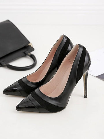 New Black Point Toe Stiletto Patchwork Fashion High-Heeled Shoes