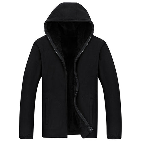 Mens Casual Solid Thicken Loose Large Size Zip Up Hoodie Warm Coat