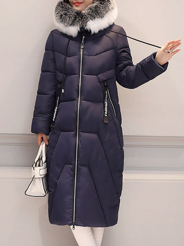 Casual Pure Color Faux Fur Hooded Long Sleeve Women Parkas