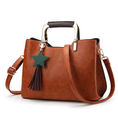 Women PU Leather Retro Tote Bag Elegant Handbag