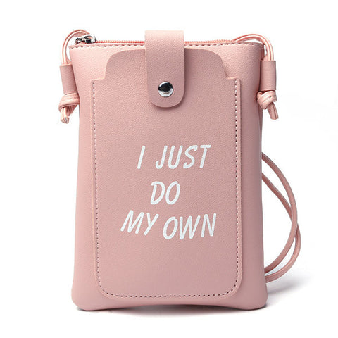 Women PU Leather Letter Crossbody Bags Character Phone Bags