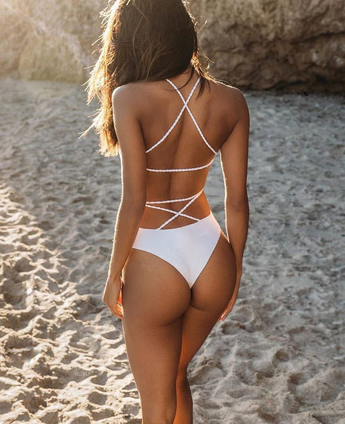 Back Cross Strap One Piece Swimsuit