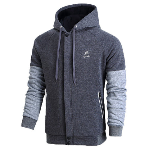 Mens Stylish Zip Up Casual Hoodies Patchwork Thick Warm Sport Hooded Tops