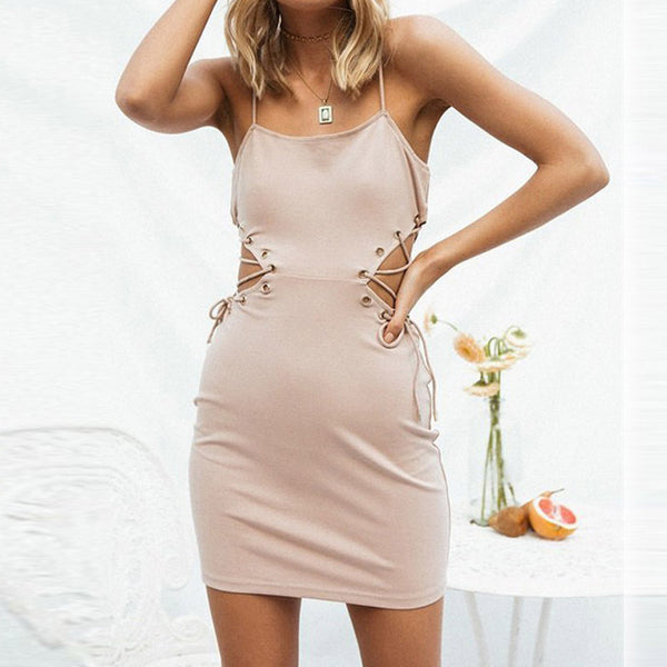 Spaghetti Strap Lace up Backless Bodycon Dress