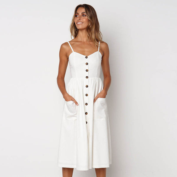 Fashion Spaghetti Strap Single Breasted front Dress