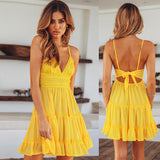 Strappy Deep V Neck Lace Backless Ladies Mini Dress