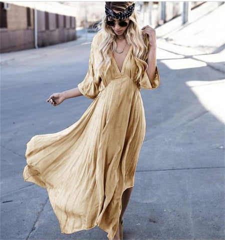 Fashion Concise Loose Solid Half Sleeve V Neck Maxi Dress