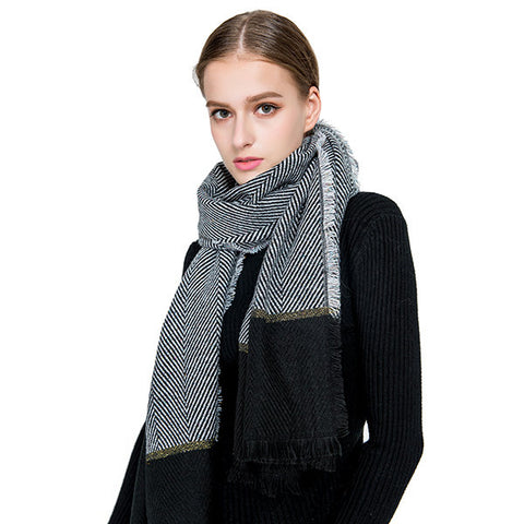 Women Cashmere Scarf Striped Shawls And Scarves Patchwork Thickening Warm Watkins Nap Scarf