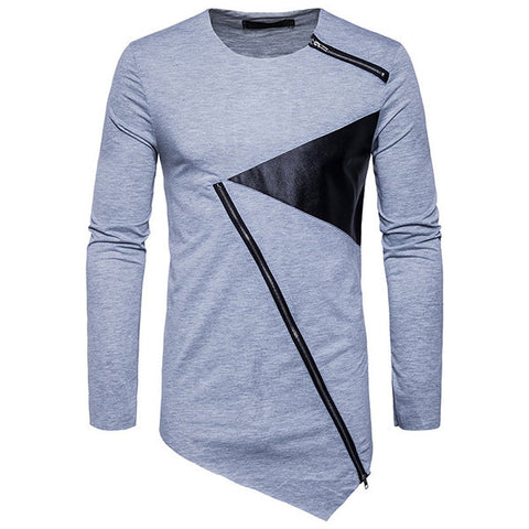 Mens O-neck Collar Irregular Hem Patchwork Long Sleeve Casual Cotton T-shirt