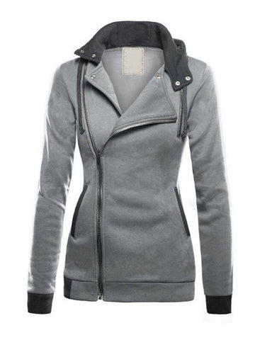 Casual Solid Color Patchwork Thicken Hooded Long Sleeve Women Coat