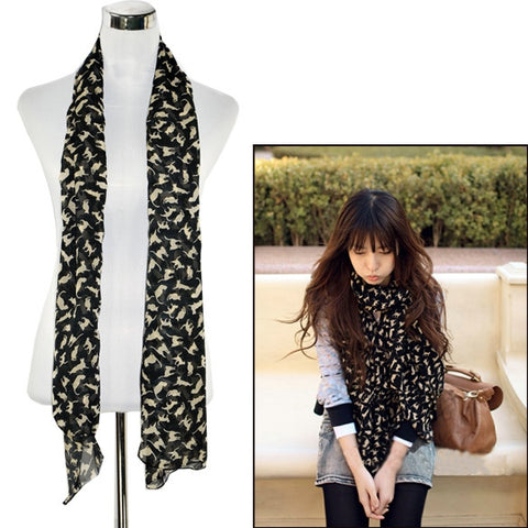 New Fashion Chiffon Colorful Sweet Cat Pattern Women's Long Scarf Neck Wrap Shawl