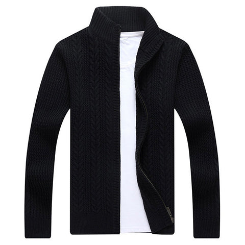Mens Casual Twist Pattern Solid Color Knitted Sweater Stand Collar Long Sleeve Sweatercoat