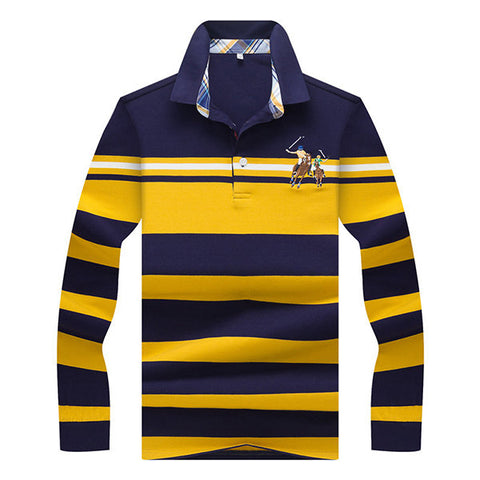 Mens Stripe Character Horse Embroidery Polo Shirt Turndown Collar Casual T-shirt