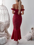 Burgundy V-neck Ruffle Trim Fishtail Hem Lace Bodycon Cami Maxi Dress