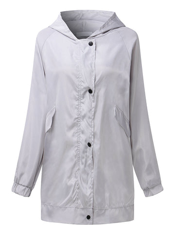 Casual Pocket Pure Color Trench Coats For Women