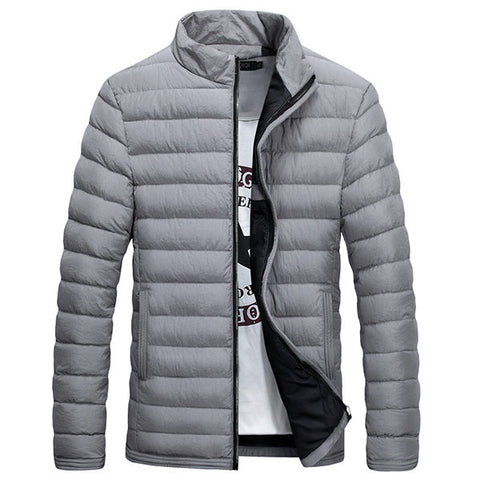 Casual Winter Thicken Winterproof Slim Stand Collar Puffer Jacket for Men
