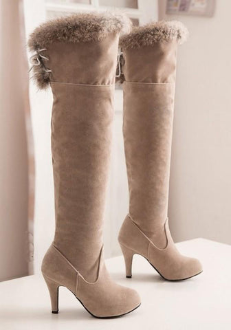 Apricot Round Toe Stiletto Cross Strap Fashion Over-The-Knee Boots