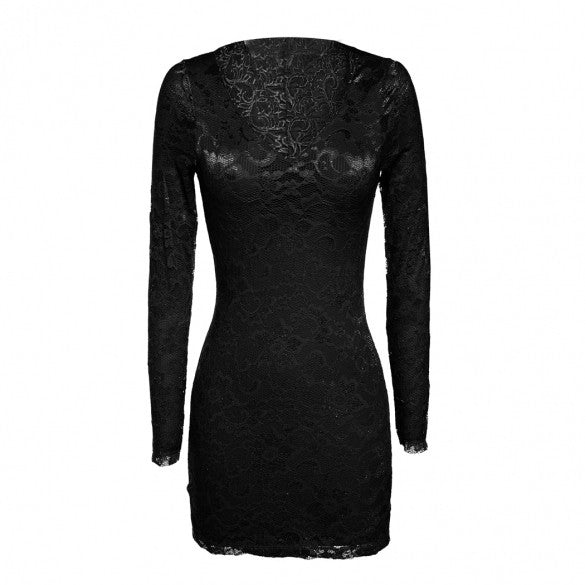 Eve's Night Women Sexy Lace Long Sleeve Bodycon Lingerie Dress And G-string