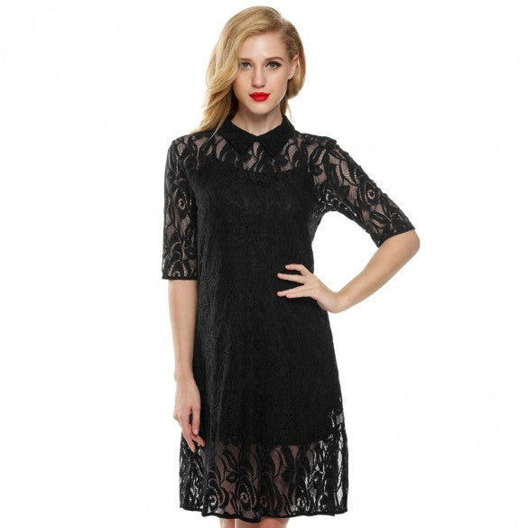 Stylish Lady Women's Sexy Medium Sleeve Black Floral Lace 2Pcs Casual Party Mini Dress