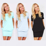 Fashion Ladies Women Casual O-Neck Short Sleeve Solid Stretch Pencil Pocket Dress