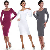 Fashion Women O-Neck Long Sleeve Solid Bodycon Stretch Pencil Party Dress