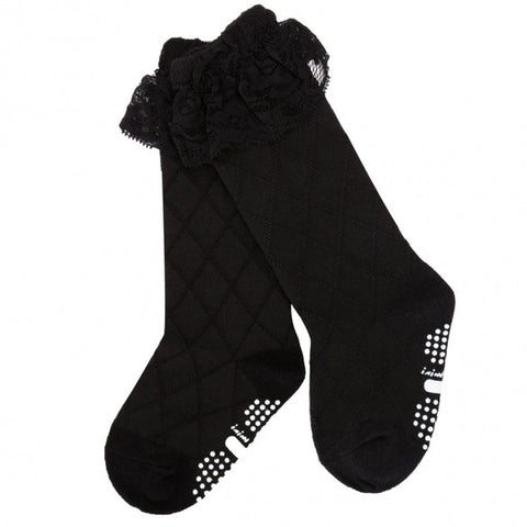 Fashion Baby Children Kid Girl Cute Lacing Calf Length Solid Breathable Socks 0-5Years White Black