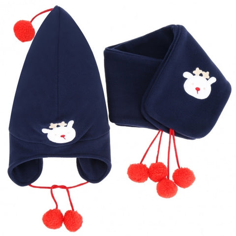 Cute Children Boys Girls Beanies Embroidered Hat And Scarf Set