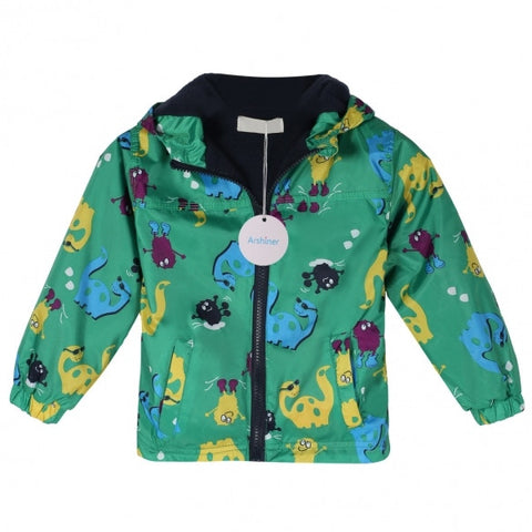 Baby Children Kids Boys Fleece Animal Print Long Sleeve Waterproof Rainproof Hooded Zipper Coat Jacket Hoodies Green