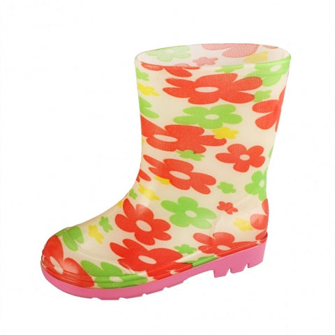 Children Kids Girl Floral Rubber Rain Boots Waterproof Snow Shoes Size 17-23
