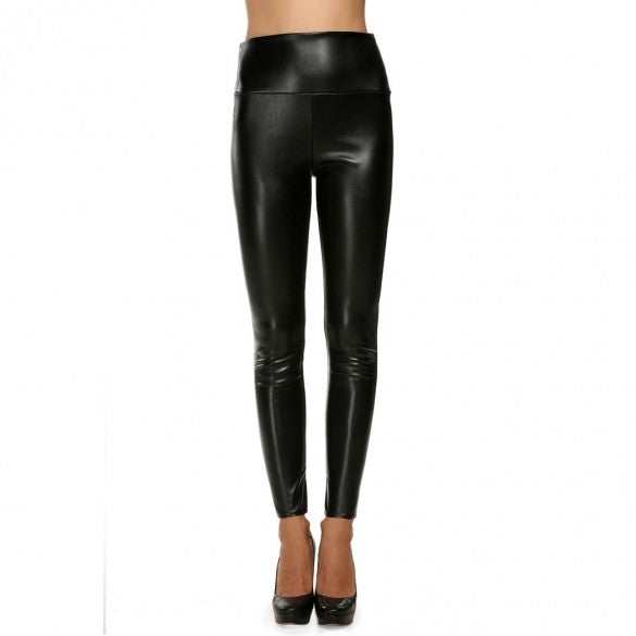 Avidlove Fashion Lady Women Sexy Stretch Pencil Pants Slim Skinny Solid High Waist Synthetic Leather Casual Party Trousers