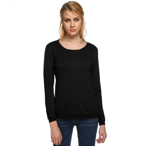 Fashion Lady Women's O-neck Long Sleeve Pullover Sweatshirts Tops Blouse